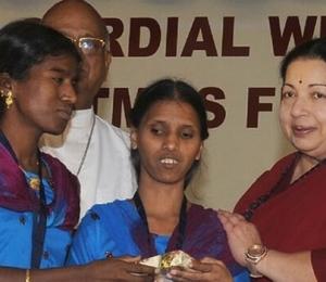 J Jayalalithaa speaks at the Christmas celebrations organised by AIADMK