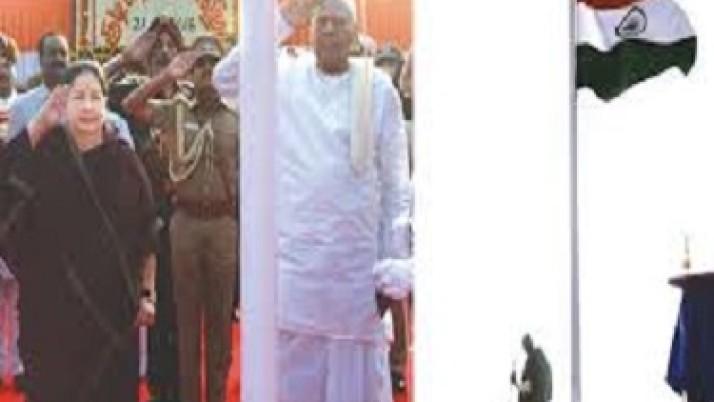 முதல்வர் ஜெயலலிதா முன்னிலையில் கவர்னர் தேசியக்கொடி ஏற்றினார்