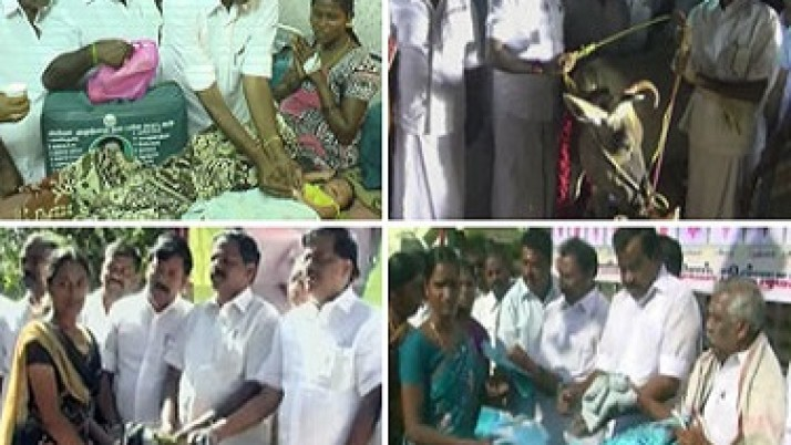 முதலமைச்சர் ஜெயலலிதாவின் பிறந்தநாளையொட்டி அரசு மருத்துவமனைகளில் பிறந்த குழந்தைகளுக்கு தங்கமோதிரமும், வெள்ளி கொலுசும் அணிவிக்கப்பட்டது