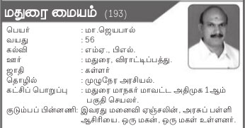 AIADMK Candidate for Madurai (Central) Assembly Election 2016 - Mr. M Jayapal
