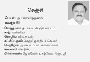 Chenji AIADMK Candidate - Govindasamy