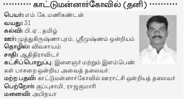AIADMK Candidate for Bhuvanagiri Assembly Election 2016 - Mr. MK Manikandan