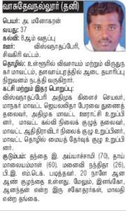 AIADMK Candidate for Vasudevanallur - Manoharan