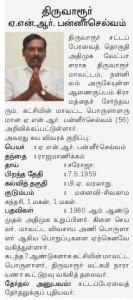Candidate for Tiruvarur - Panneerselvam
