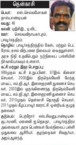 AIADMK Candidate for Tenkasi - Selvamohandas Pandian