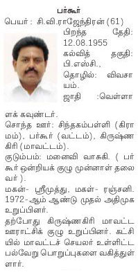 AIADMK Candidate for Bargur Assembly Election 2016 - Mr. C Vee Rajendran