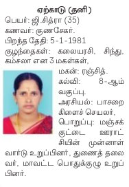 AIADMK Candidate for Yercaud Assembly Election 2016 - Mrs. K Chitra