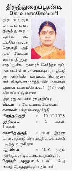 AIADMK Candidate for Thiruthuraipoondi Assembly Election 2016 - Mrs. K Uma Maheswari