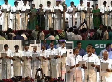 முதலமைச்சர் ஜெயலலிதா பதவியேற்றுக் கொண்டதைத் தொடர்ந்து 28 அமைச்சர்களும் குழுவாக பதவி ஏற்பு